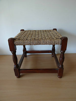 """Vintage Wooden Wicker/Rattan Stool/Seat - 13"""" Long, 13"""" Wide and 11.5"""" High"""