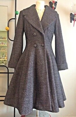 Ladies vintage 1940s/50s style fit and flare wool Coat in Mottled Grey