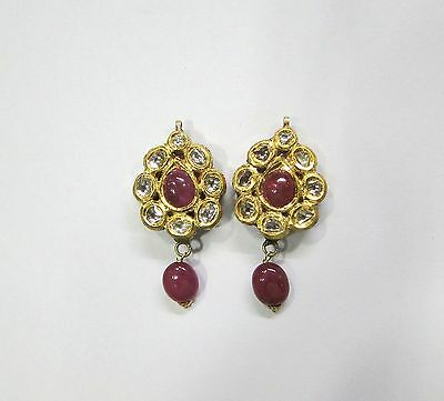 Vintage antique solid 20K Gold jewelry Diamond polki ruby enamel earring pair