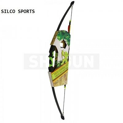 Kids Black & Green Recurve Archery Bow 18Lbs Kit 6 Arrows + 10 Targets & More