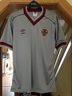 Vintage Retro Heart of Midlothian Football Shirt 1985 1986 Grey Silver Umbro