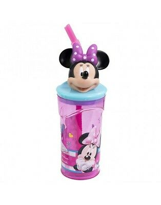 NEW 3 D MINNIE MOUSE HEAD BOTTLE WITH STRAW VERY COLORFUL L@@k