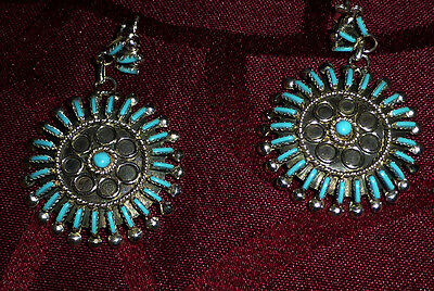 Native American Sleeping Beauty SS & Needle Point Turquoise Cluster Earrings
