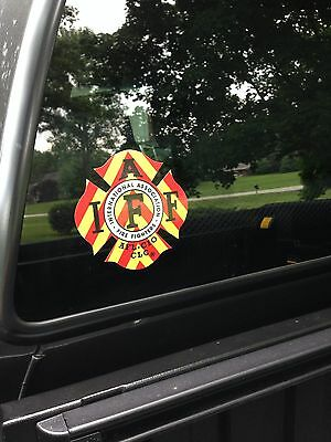 """RED/YELLOW IAFF Firefighter Union Chevron Reflective 3M Sticker Decal 4"""""""