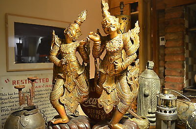 "Antique Pair Of Balinese Temple Gods Ubud Guardians Statues 28.5"" very detailed."