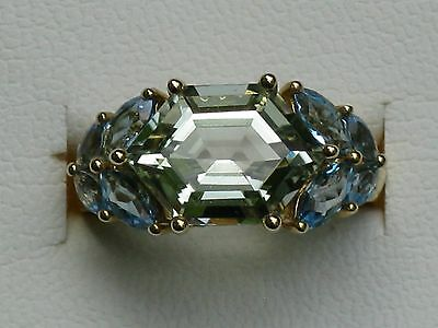 Green Quartz and Blue Topaz Ring in 14k yellow gold size 7