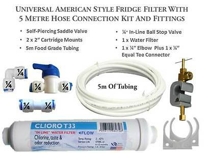 5M Complete Hose connection kit American Fridge Freezer Water Filter Filters