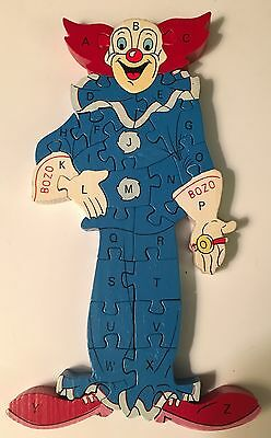 Vintage Bozo The Clown Alphabet and Number Wooden Puzzle