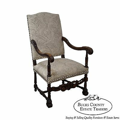 Antique 19th Century French Louis XIII Style Throne Chair w/ Updated Upholstery