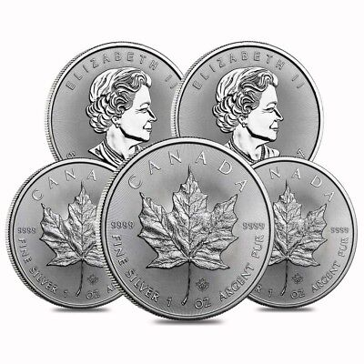 Lot of 5 - 2017 1 oz Silver Canadian Maple Leaf .9999 Fine $5 Coin BU