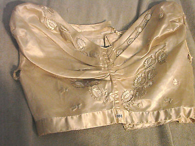 Vintage Edwardian Bodice Ivory Satin Shell EMBROIDERED Tulle TLC B28 Top