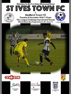 St Ives Town v Bedford Town - Programme - 2016/17 - Southern Cup