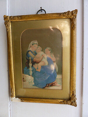 Antique George Baxter framed print of Madonna and Child