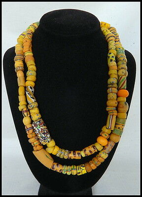 Vintage, Antique, Hand-made Yellow, Venetian, African, trade bead necklace