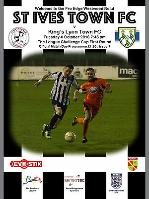 St Ives Town v King's Lynn Town - Football Programme - 2016/17 Southern Cup