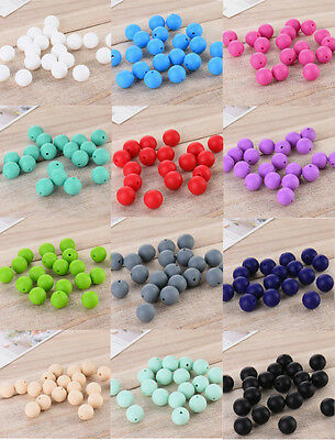 20X Silicone Baby Teething Necklace BPA Free Chew Beads Teether Relief Nursing