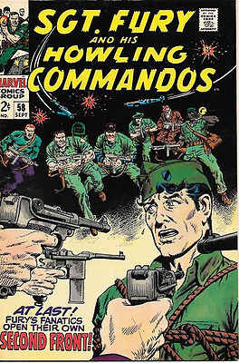 Sgt. Fury and His Howling Commandos Comic Book #58, Marvel 1968 FINE+