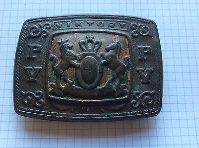 Antique brass belt buckle crowned Lion and horse Coat Of Arms crest Heraldic