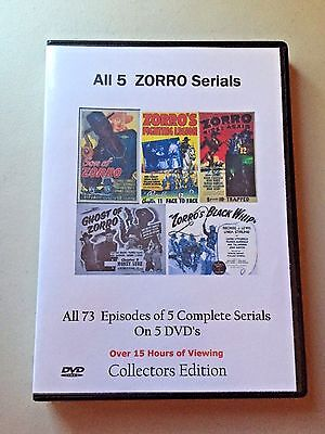 All 5 Complete Zorro Uncut Serials Cliffhanger Movies Sealed