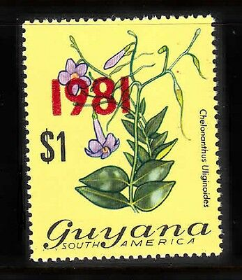 GUYANA - SC# 367a SURCHARGED 1981 RED MNH