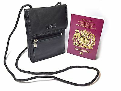 New Black Leather Travel Passport Wallet Document Holder Zipped Money Case Bag