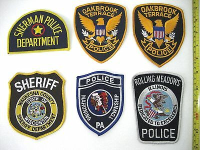 Lot of 6 IL PA TX WI Oakbrook POLICE Sheriff Shoulder PATCHES USA NEW