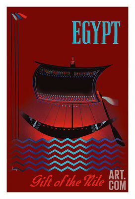 Egypt - Gift of the Nile - Ancient Egyptian Solar Boat Giclee Print, 30x44