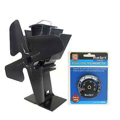 Newest design Powered Stove Fan BLADE Burning NICKEL BLACK CHOOSE + THERMOMETER