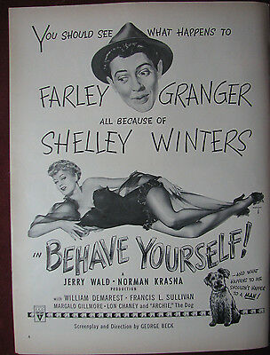 Original Vintage 1951 Behave Yourself Shelley Winters Pinup Movie Ad art film