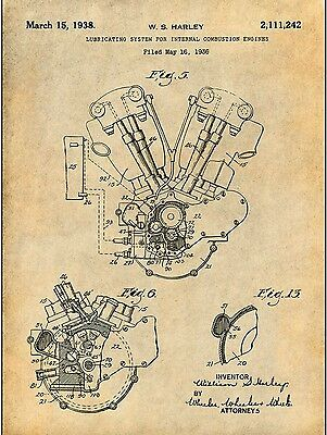 "1936 Harley Davidson Motorcycle Engine Patent Print Unframed Poster 8.5"" X 11"""