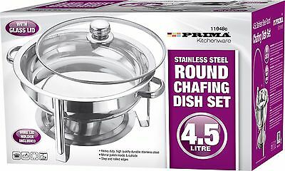 4.5 Ltr ROUND CHAFING DISH WITH GLASS LID STAINLESS STEEL FOOD WARMER CATERING