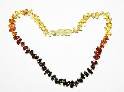 Natural Baltic amber baby teething necklace, rainbow 33 cm/13 inch