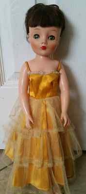 Vintage Doll 16 1/2 inch With Original Yellow dress 1950's Old Doll