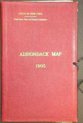 1905 Set of 4 folded maps of New York Adirondacks with cloth cover