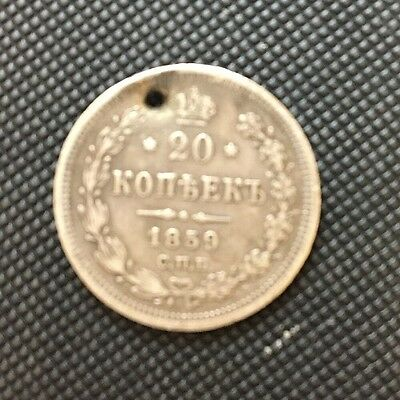 1859 - 20 Kopeks Old Russian SILVER Imperial Coin - Original