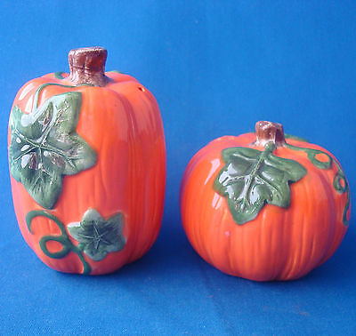 orange pumpkin salt and pepper shakers Halloween Thanksgiving ceramic