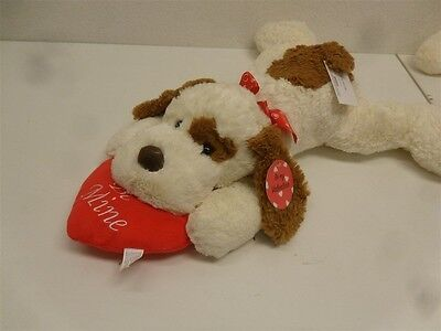 """Be My Valentine Brown & Cream Spotted Lying Dog w/ Be Mine Heart 20"""" PT60643KM-1"""
