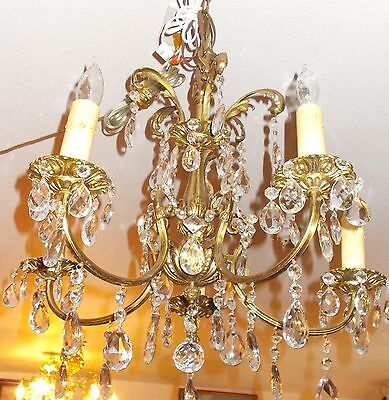 Spectacular Antique Gilt Cast Crystal Chandelier From Manhattan Salvage Proj.