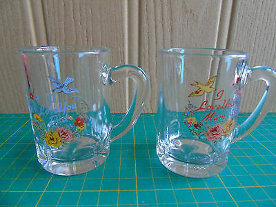 Two Individual Minature Glass Tankards - I Love You Mum / Dad
