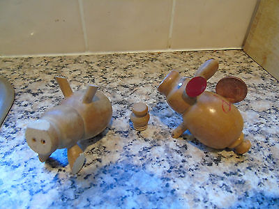 Hand Crafted Wooden Pig Salt & Pepper Pots - Excellent Condition