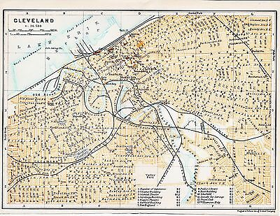 Cleveland OH 1909 small orig. city map + guide (4 p.) haymarket opera cuyahoga