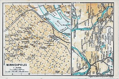 Minnesota MN 1909 small orig. city map + guide (3 p.) St. Paul Nicollet Andrus
