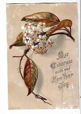 May Christmas Mirth Wed New Year Joy Gold Leaves Raphael Tuck Vict Card c1880s