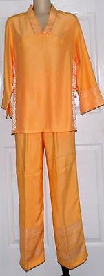 Oriental Silk Outfit Womens Asian Pants Set Size M Popsicle Orange NWOT