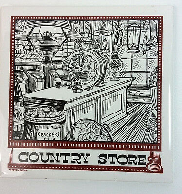 """Vintage 6""""x6"""" Trivet Tile Old Country Store Hand Decorated Screencraft Cape Cod"""