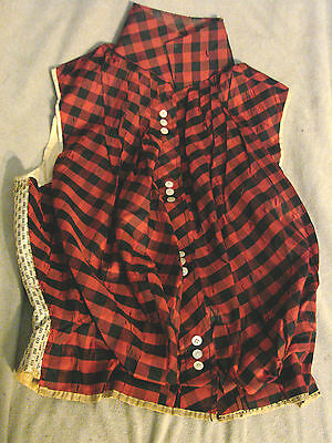 Vintage Edwardian Bodice RED PLAID Shell Buttons COLLAR TLC B32 Top VEST
