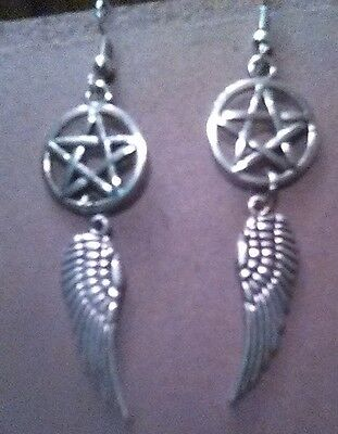 Silver Pentacle & Raven Feather Earrings