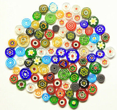 Glass Millefiori Rods Flat Round Slices Beads 2 Oz Assorted Color 90 COE Mosaics