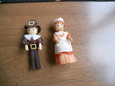 PAIR Vintage Corn Husk Dolls Pilgrims .so Cute!!!