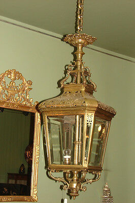 Very Fine & Antique French Bronze Ceiling Lantern Chandelier, Circa 1870